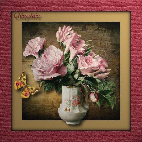 """Ma création pour le défi """"Challenge"""" Vase fleuri"""